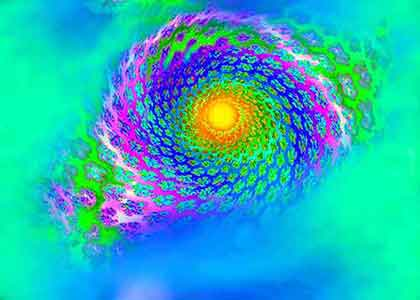 Green purple blue spiral with the sun in yellow orange in the middle of Fractal