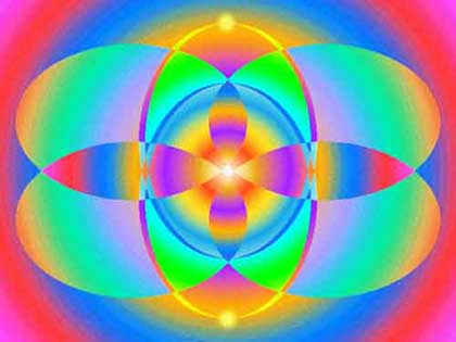 Two petalled flower in light colors of the Third Eye, computer graphic by Wiesław Sadurski