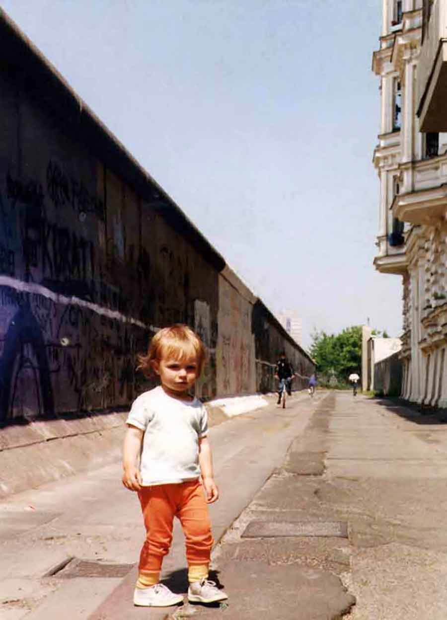 Veronique at the Berlin Wall, our street 1989, mosaic and Art Canvas Print by Wieslaw Sadurski