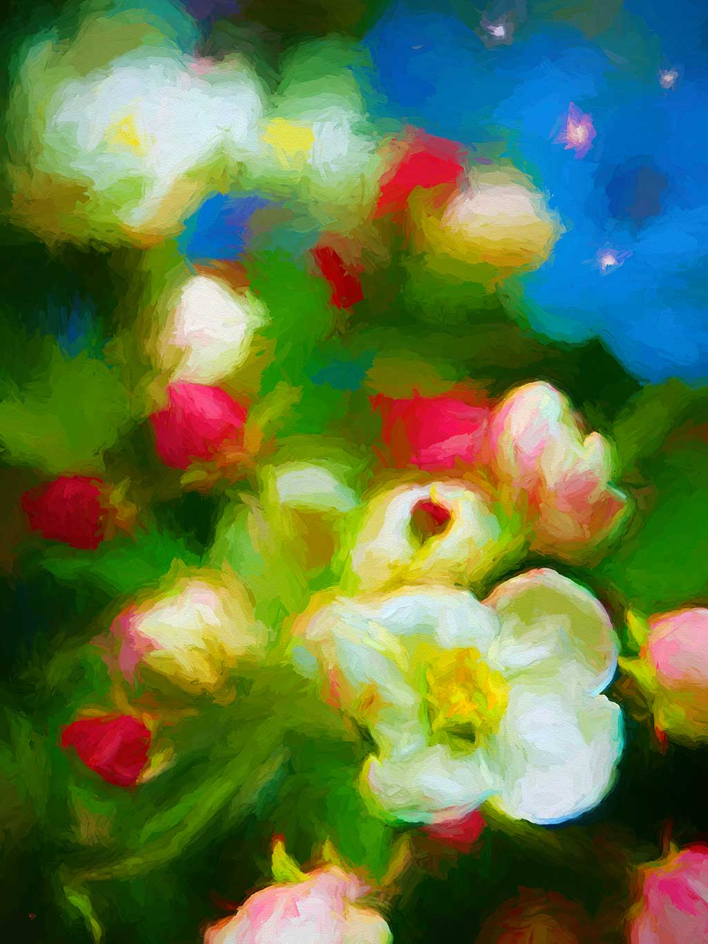 Apple White Flowers Red Buds in a digital painting on Art Canvas Print by Wieslaw Sadurski