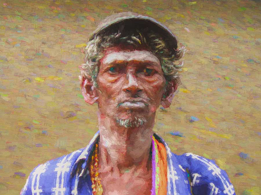 India Beggar Portrait, digital painting on Art Canvas Print by Wieslaw Sadurski