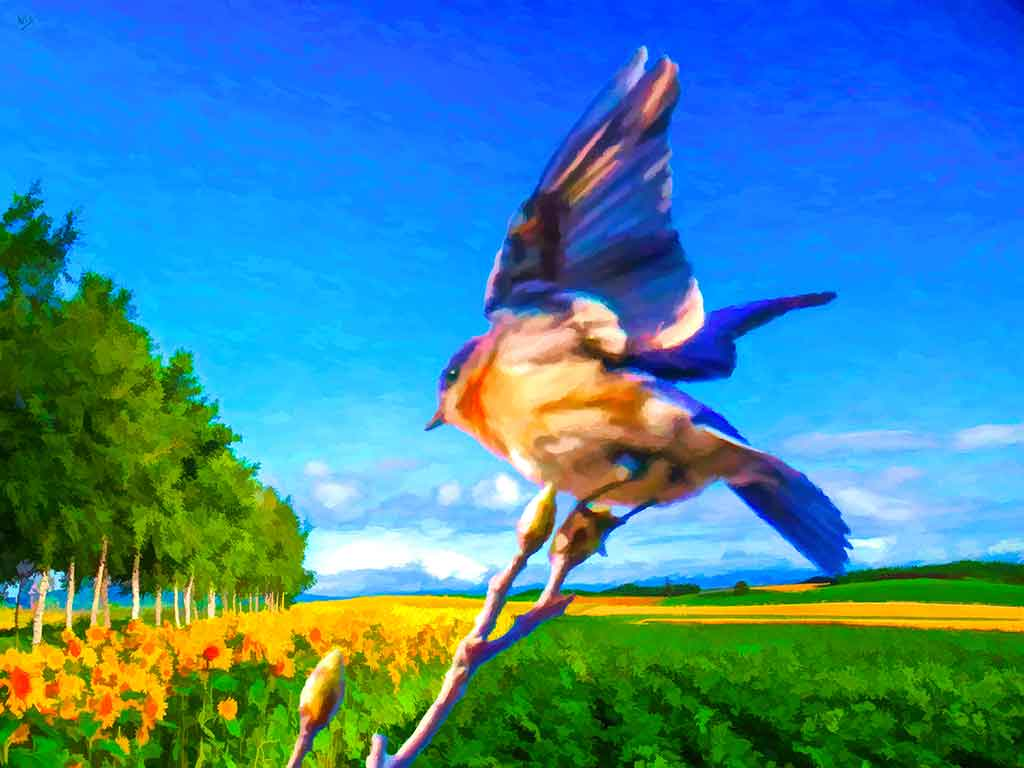 Bird on twig in a summer of sunflower fields and mountains afar, digital oil painting and Art Canvas Print by Wieslaw Sadurski