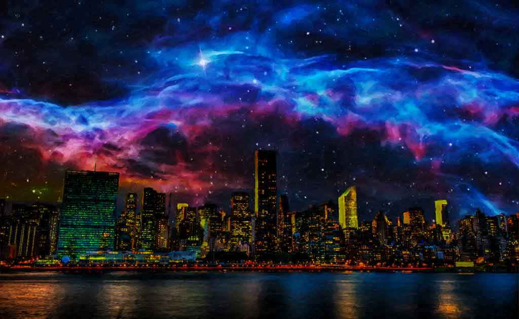 City Lights under stars of outer space, digital painting on Art Canvas Print by Wieslaw Sadurski