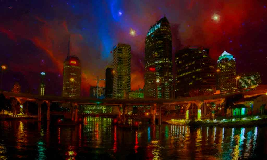 City Lights Landscape Painting with a starry night, digital painting on Art Canvas Print by Wieslaw Sadurski.