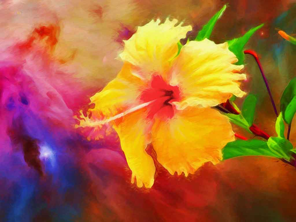 Hibiscus Flower Space, digital painting on Art Canvas Print by Wieslaw Sadurski