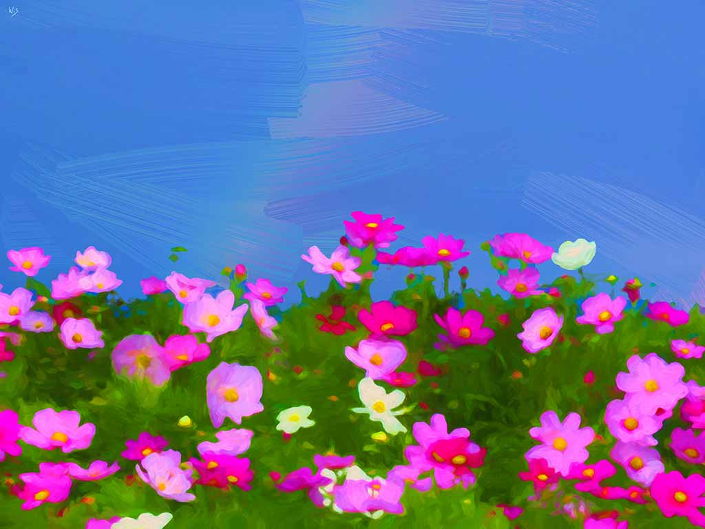 Colorful Daisy Meadow in landscape, digital painting on Art Canvas Print by Wieslaw Sadurski