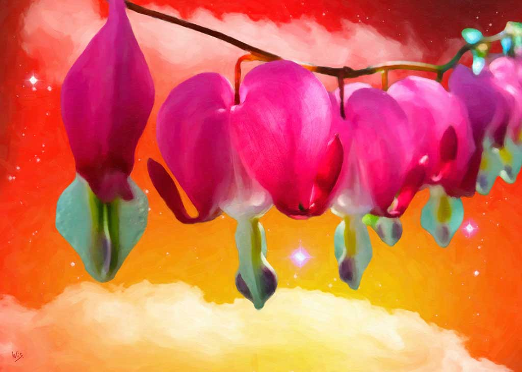 Hanging Hearts Flowers against orange starry sky, digital Oil Painting on Art Canvas Print by Wieslaw Sadurski