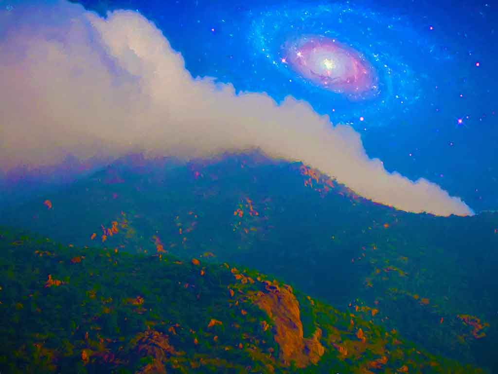 Galaxy Light over Arunachala in landscape, digital oil painting on Art Canvas Print by Wieslaw Sadurski