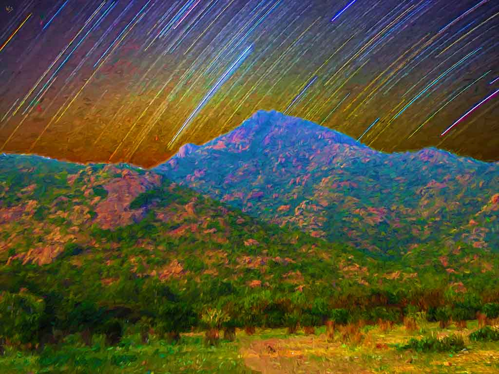 Arunachala Mountain Starstripes, digital landscape painting on Art Canvas Print by Wieslaw Sadurski