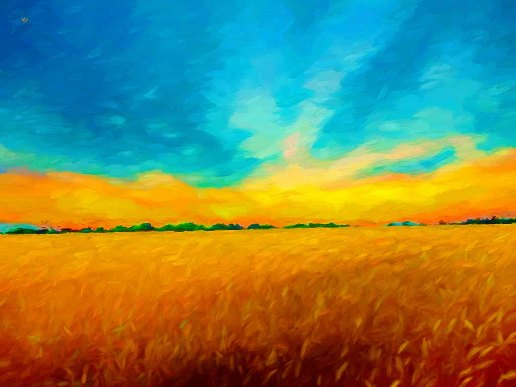 Summer Golden Landscape, digital oil painting on Art Canvas Print by Wieslaw Sadurski