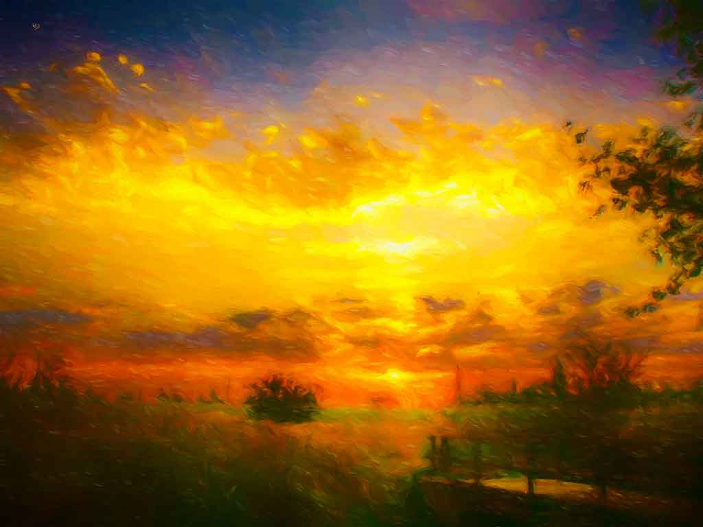 Sunset over Summer Landscape, digital oil painting on Art Canvas Print by Wieslaw Sadurski