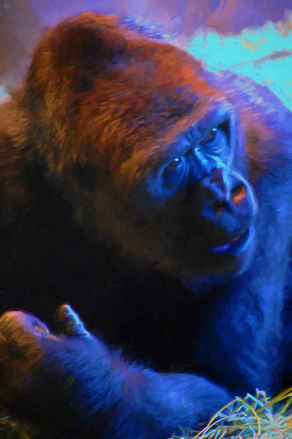 Gorilla Talking, digital portrait painting on Art Canvas Print by Wieslaw Sadurski