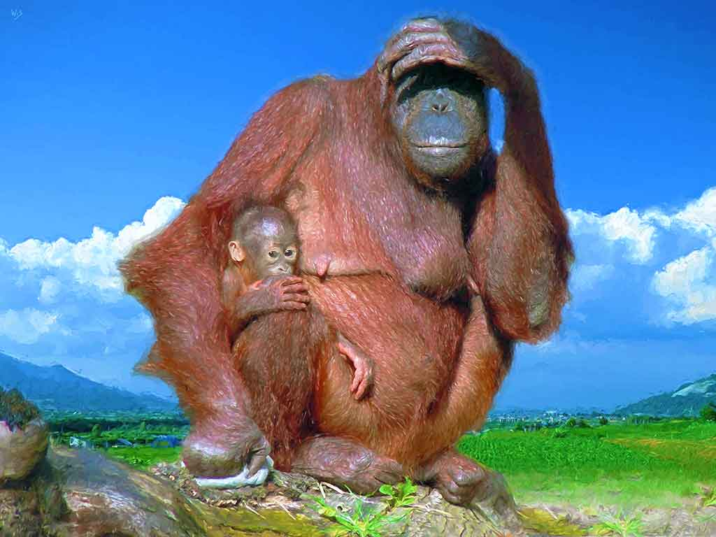 Mrs. Orangutan with a Baby, digital portrait painting on Art Canvas Print by Wieslaw Sadurski