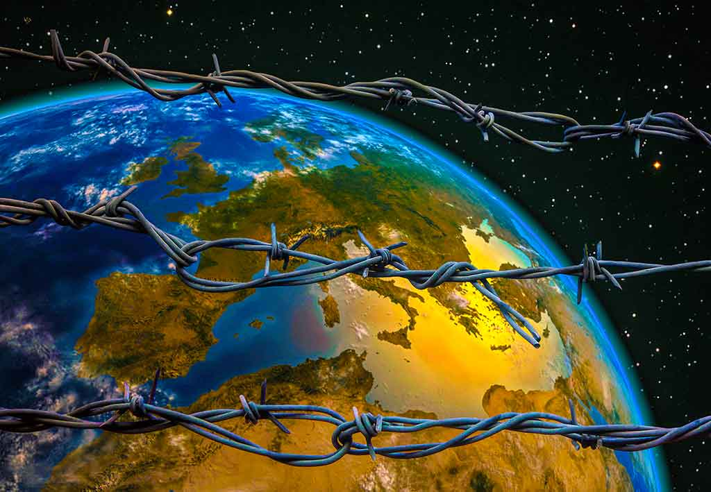 Behind Barbed Wire image of the earth, Art Canvas Print