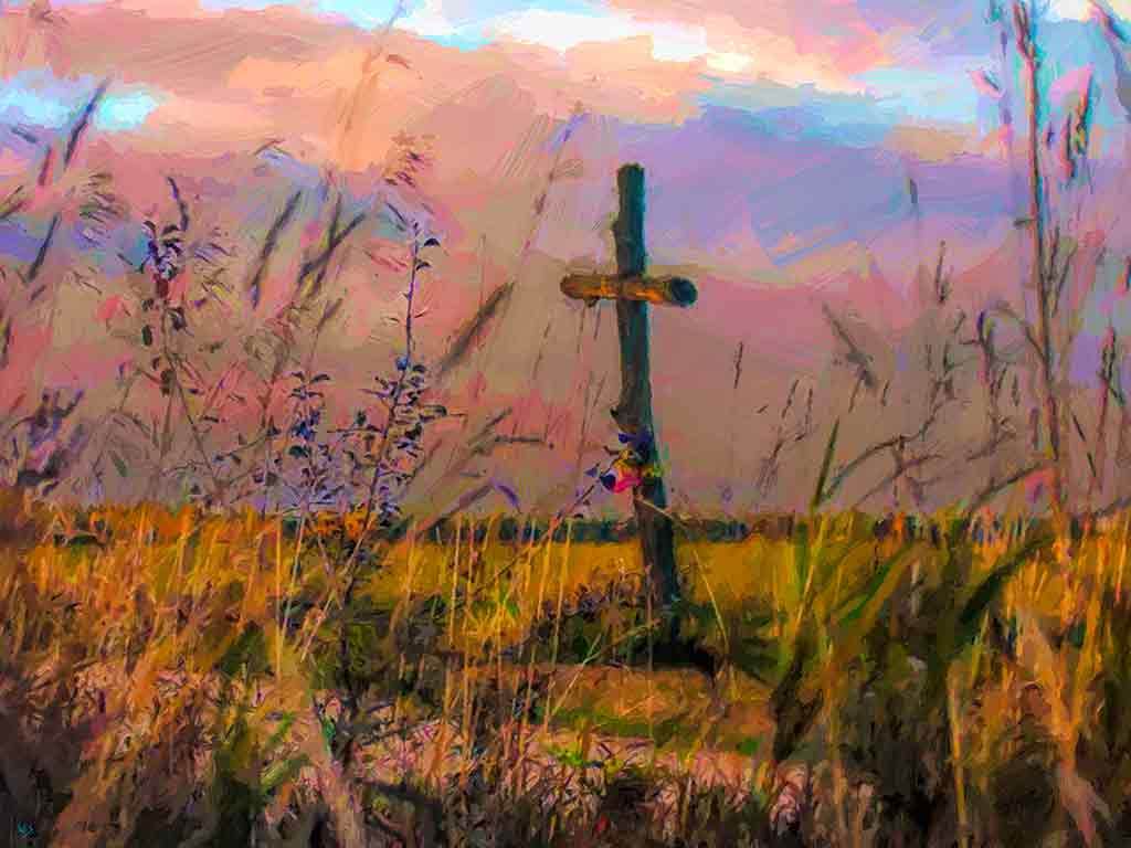 Cross in Fields landscape, digital painting and Art Canvas Print by Wieslaw Sadurski