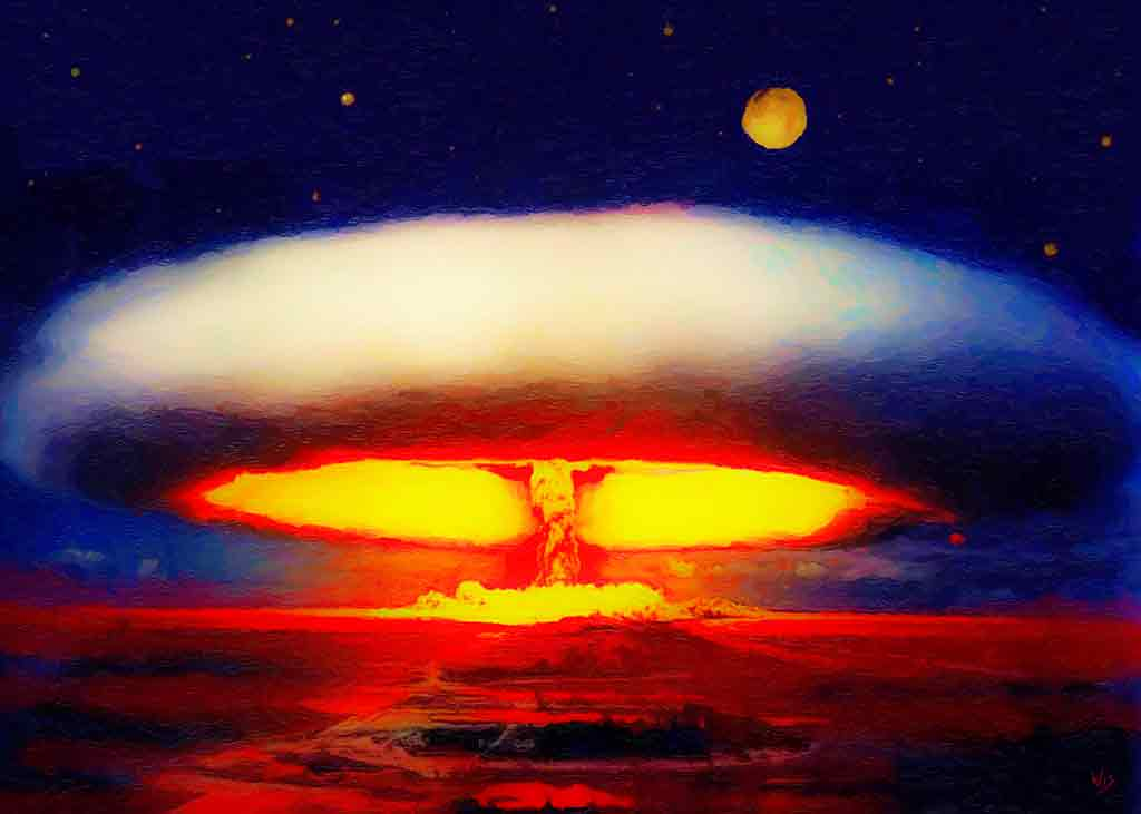Nuclear Lyric shows beauty of atom bomb explosion, Art Canvas Print