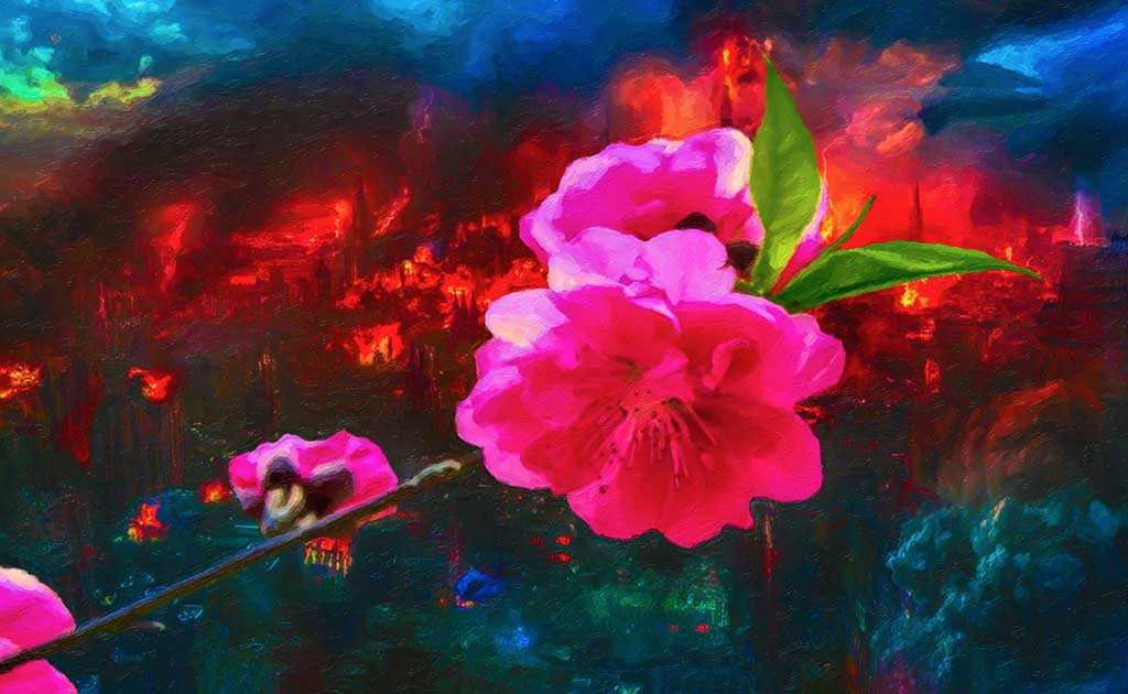 Peace and War metaphor, burning town and cherry flowers, digital painting and Art Canvas Print by Wieslaw Sadurski