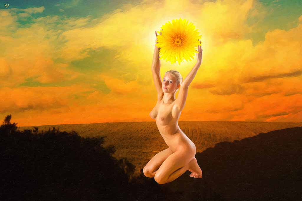Lady with a Daisy Sun, nude girl kneeling with daisy sun in her hands, digital painting and art canvas print by Wieslaw Sadurski