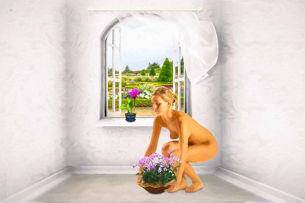 Girl with a Flower Pot and garden in a window, digital painting and art canvas print by Wieslaw Sadurski