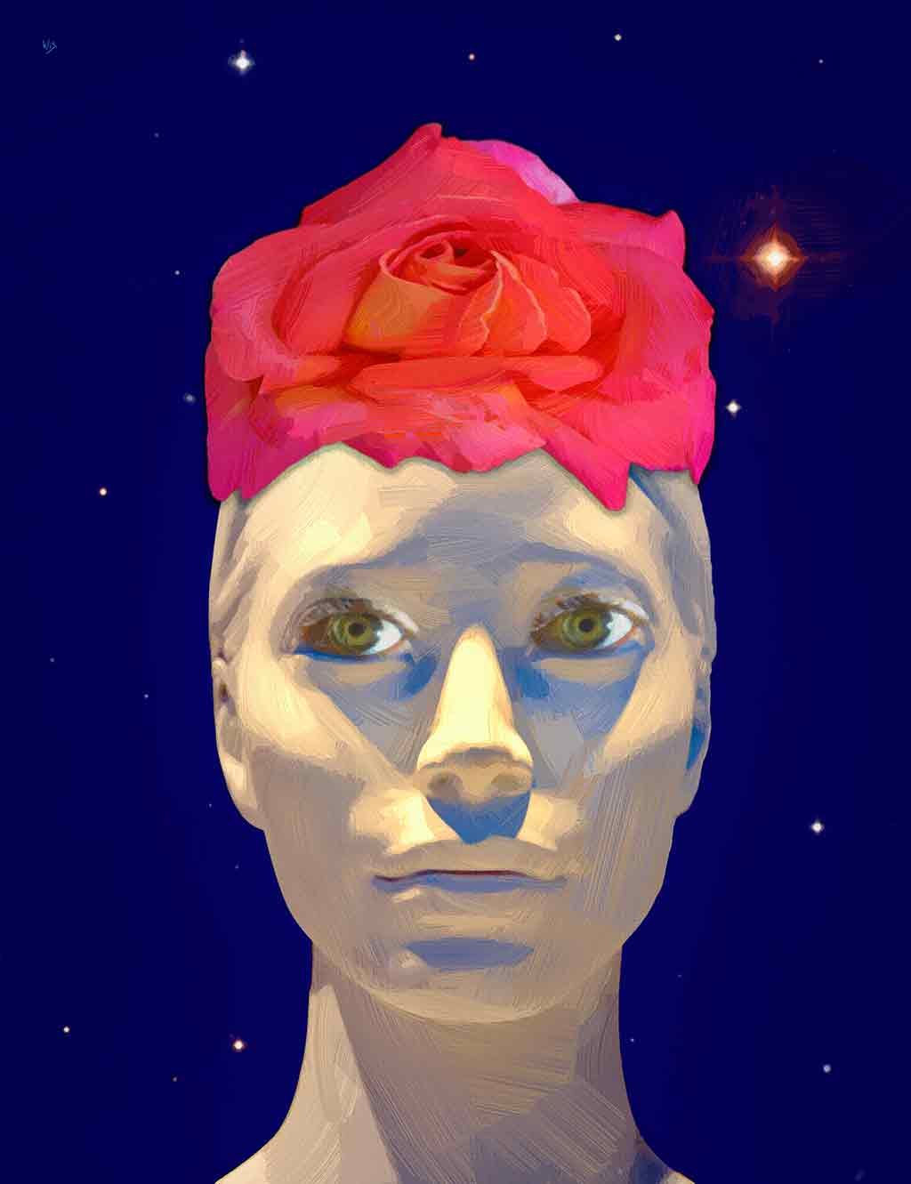 Lady Rose portrait painting with blue starry sky in the background, digital painting and art canvas print by Wieslaw Sadurski