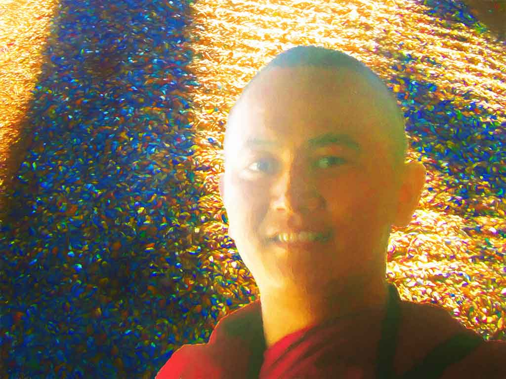 Young Zen Monk portrait, digital oil painting on Art Canvas Print by Wieslaw Sadurski