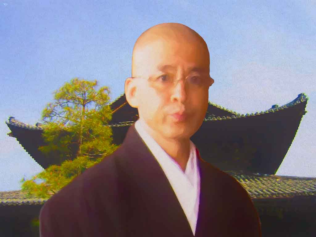 Young Zen Monk portrait, digital oil painting and art canvas print by Wieslaw Sadurski