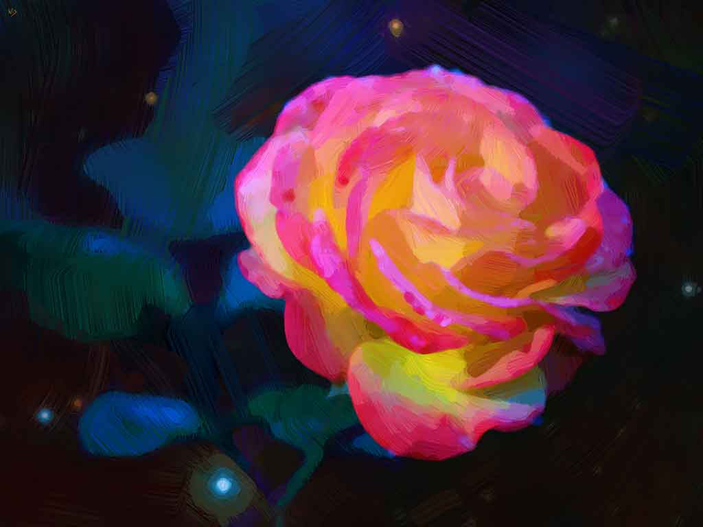 Light Rose in the Dark, digital oil painting and art canvas print by Wieslaw Sadurski