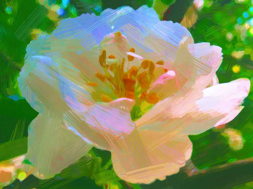Etheral Rose painting - a single rose on the green in a digital oil painting by Wieslaw Sadurski