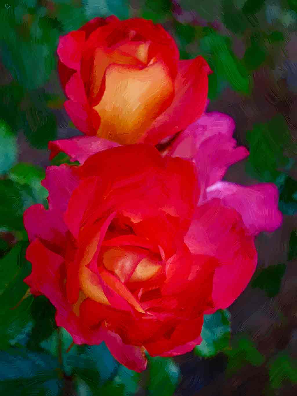 Two Red Roses, digital painting on Art Canvas Print by Wieslaw Sadurski