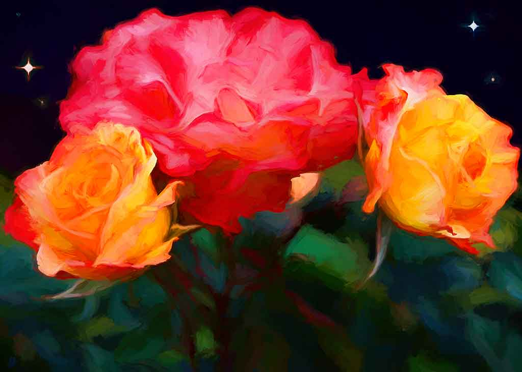 Varigated Roses Painting closeup, digital oil painting and art canvas print by Wieslaw Sadurski