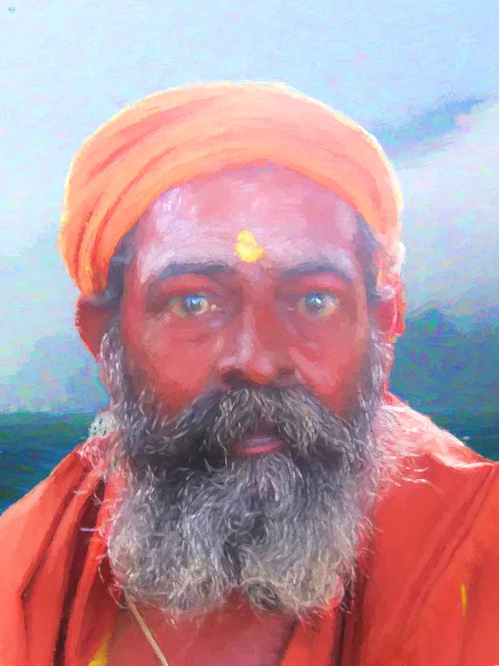 Sadhu 154 Portrait, digital painting and art canvas print by Wieslaw Sadurski
