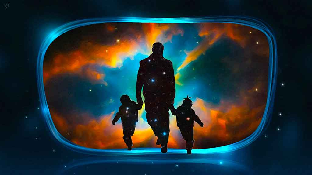 Father with Kids Painting, silhouettes in a digital oil painting on Art Canvas Print by Wieslaw Sadurski