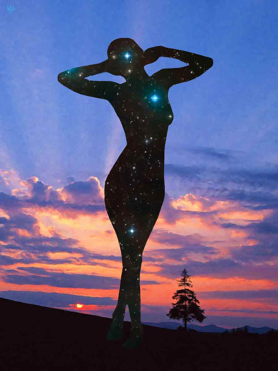 Starry Lady in Sunset Landscape in a digital oil painting on Art Canvas Print by Wieslaw Sadurski
