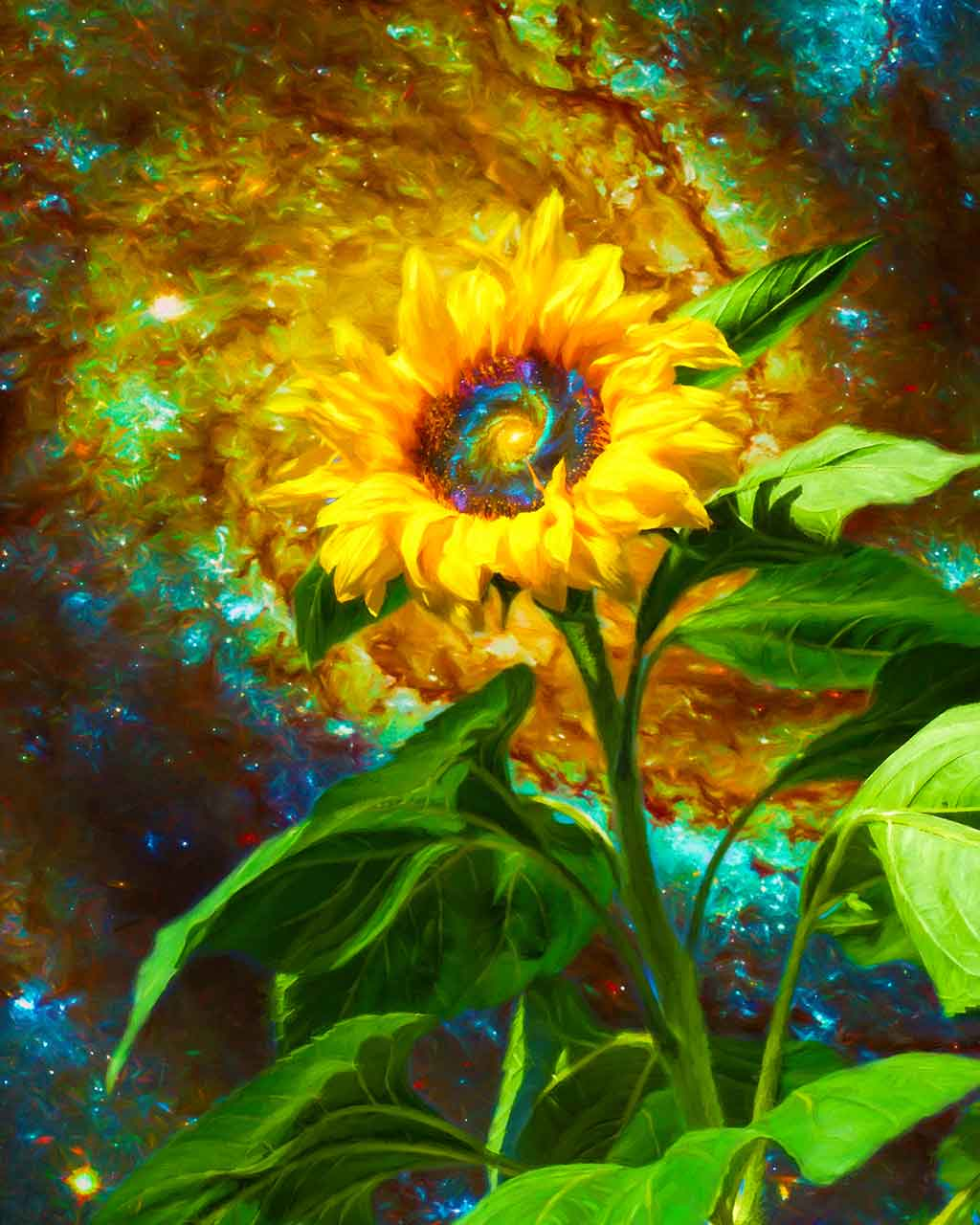 Galactic Sunflower in a digital oil painting on Art Canvas Print by Wieslaw Sadurski