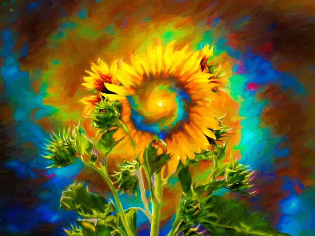 Sunflower Bush Outer Space landscape in a digital oil painting on Art Canvas Print by Wieslaw Sadurski