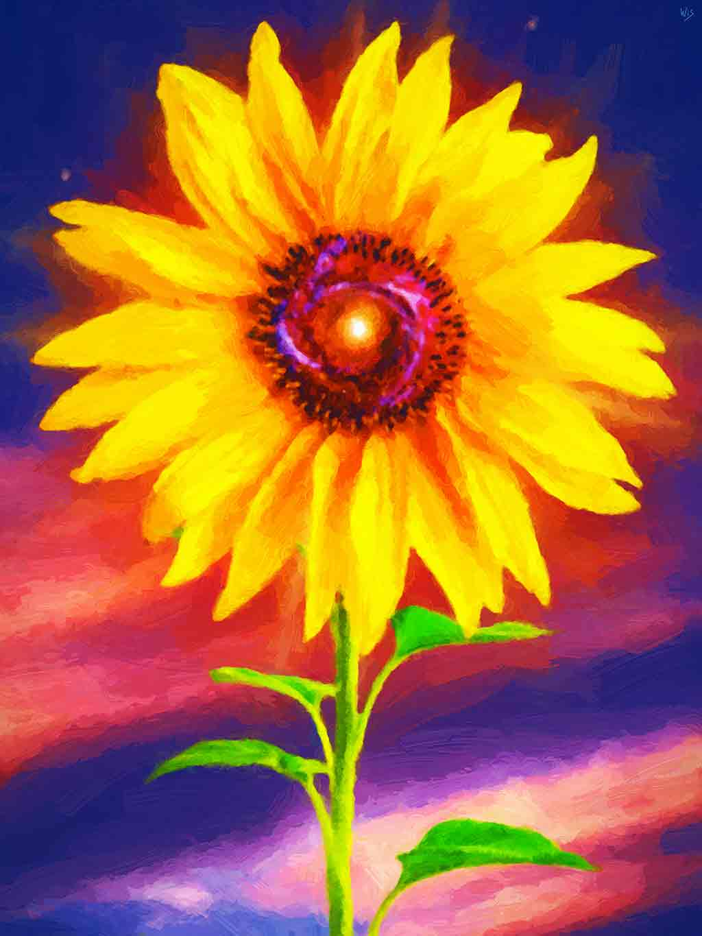 Sunflower Galactic  in landscape in a digital oil painting on Art Canvas Print by Wieslaw Sadurski