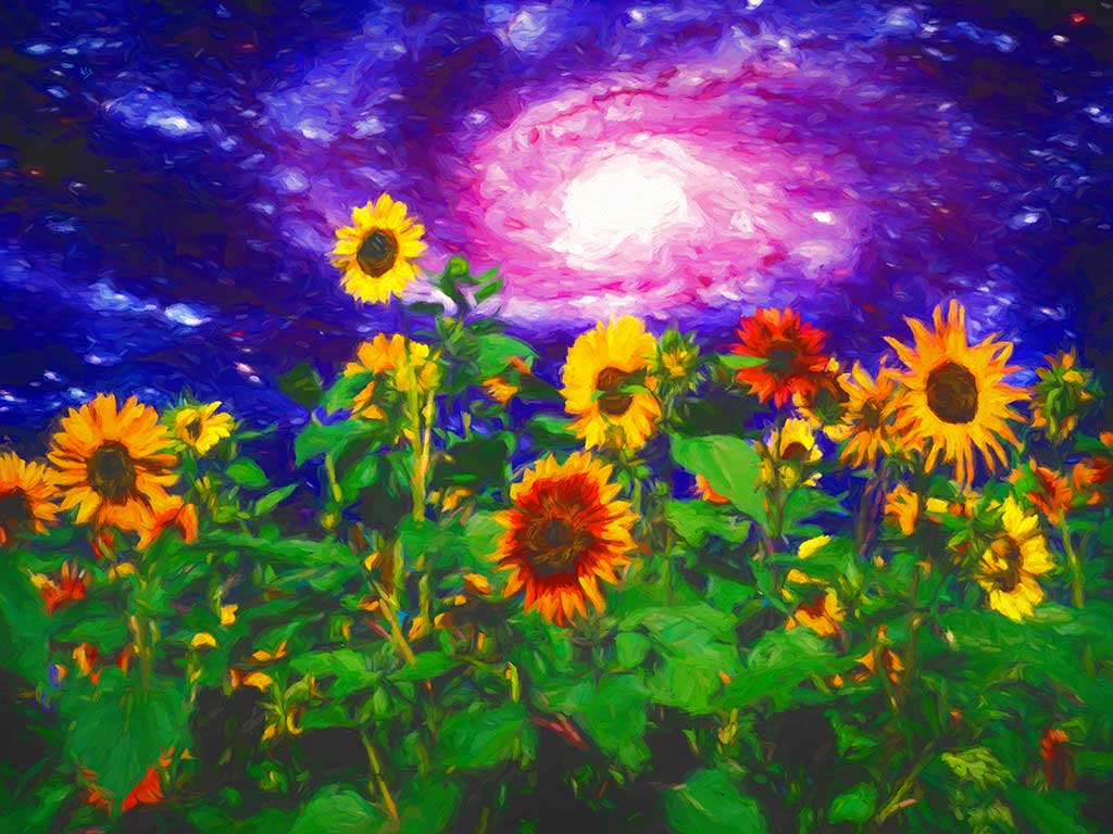 Sunflowers Galactic Field landscape in a digital oil painting on Art Canvas Print by Wieslaw Sadurski