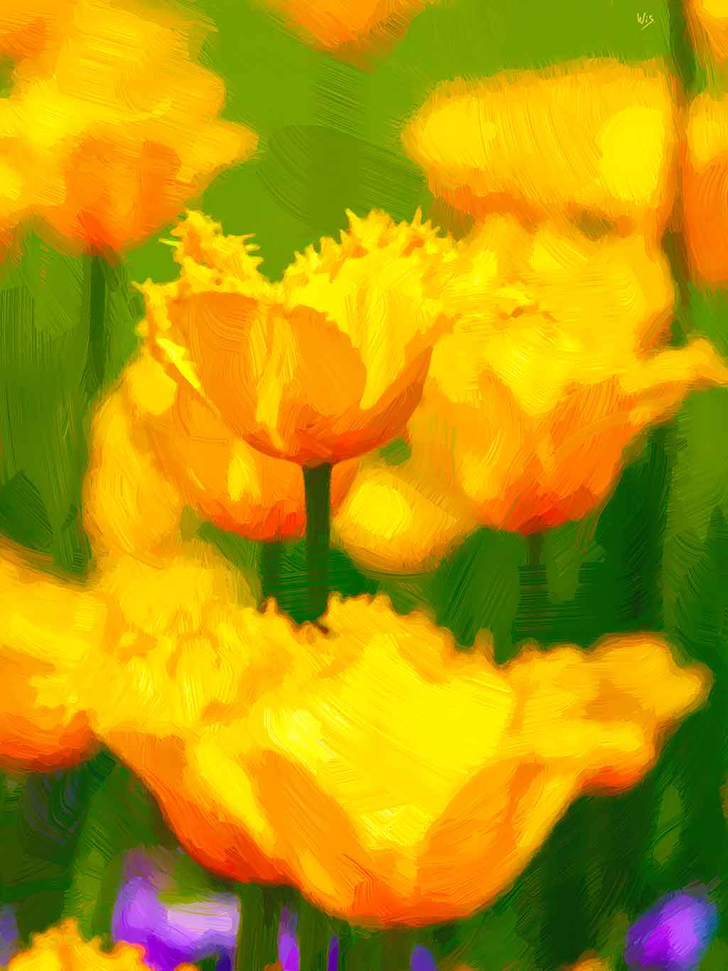 Tulips Yellow in digital oil paintings on Art Canvas Print created by Wieslaw Sadurski