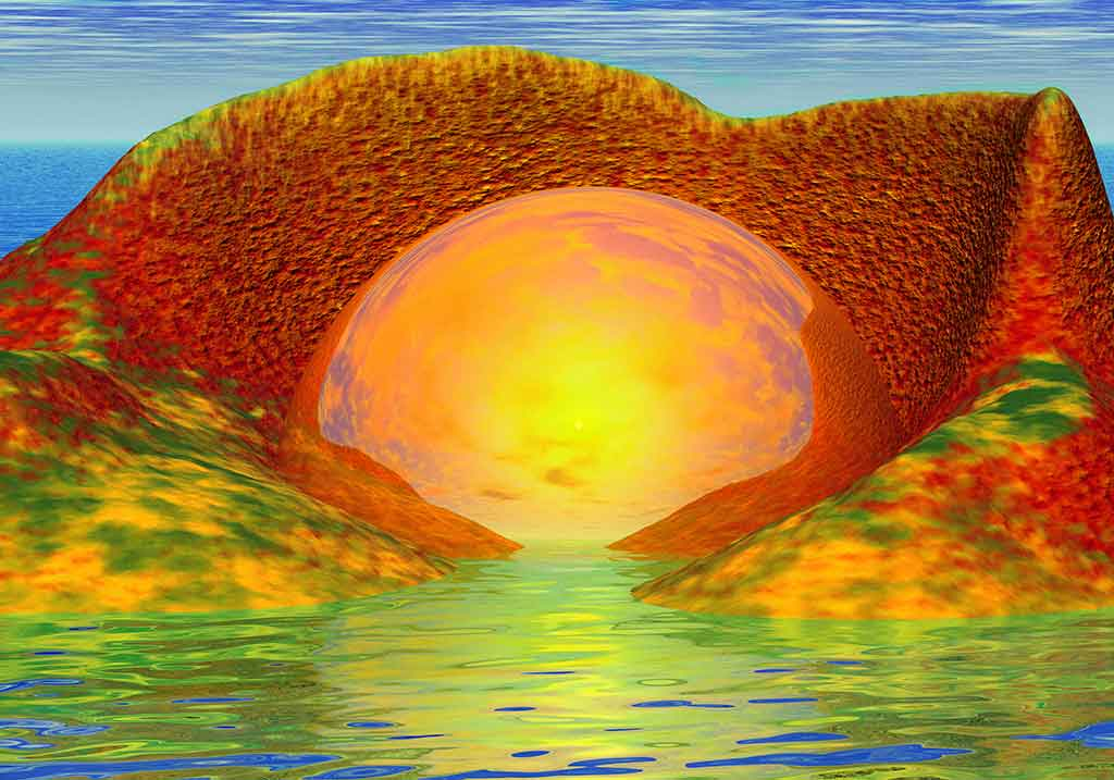 Sun Rock Landscape, 3-d image and Art Canvas Print created by Wieslaw Sadurski