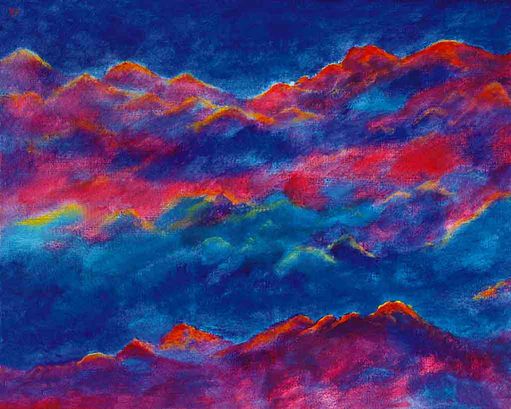 Peaks and Clouds, original Oil Painting and Art Canvas Print by Wieslaw Sadurski