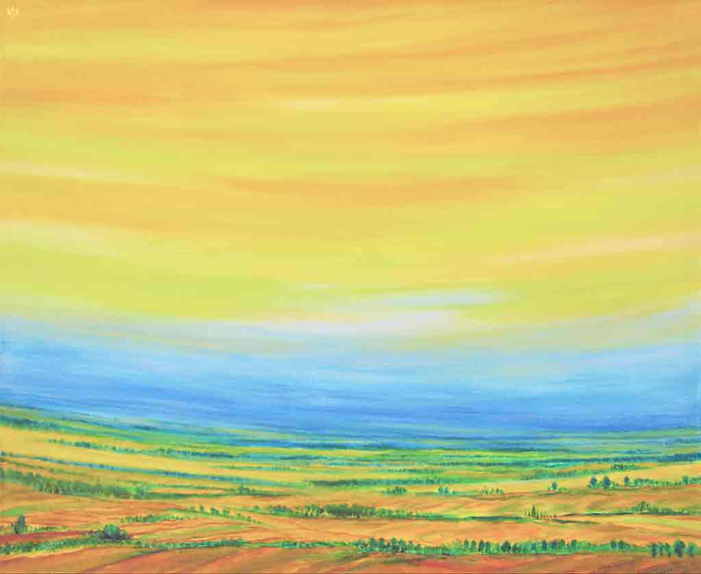 Polish Landscape 2, original acrylic Painting and Art Canvas Print by Wieslaw Sadurski