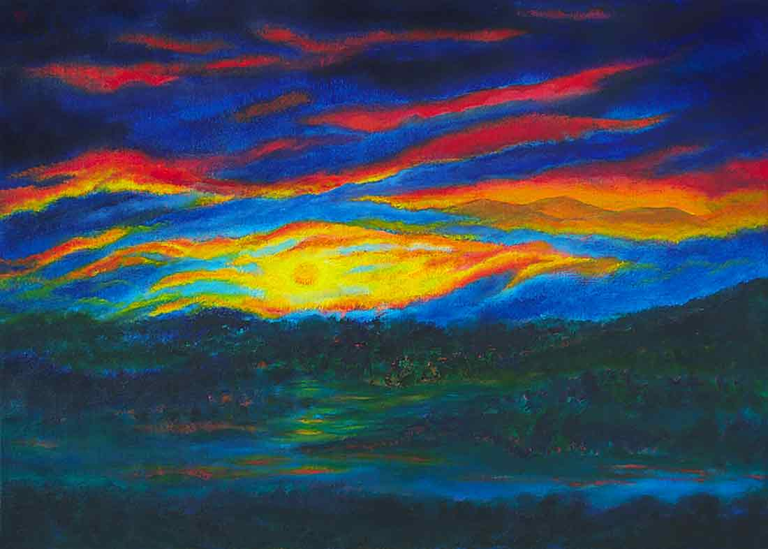 Sunset Glindow, original Oil Painting and Art Canvas Print by Wieslaw Sadurski