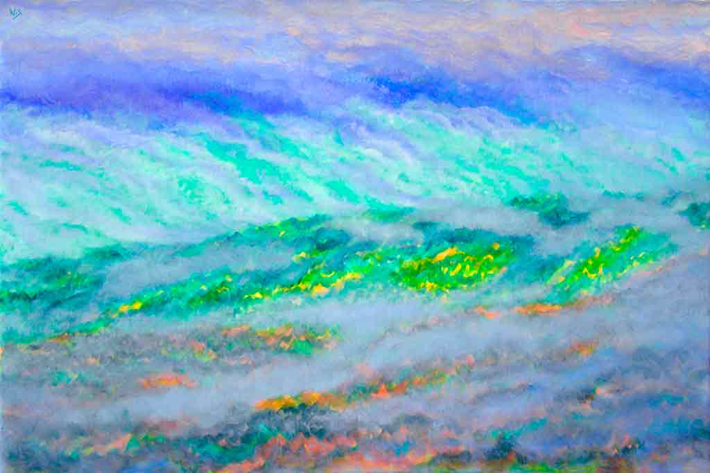 Hill and Clouds, acrylic Painting on canvas and Art Canvas Print by Wieslaw Sadurski