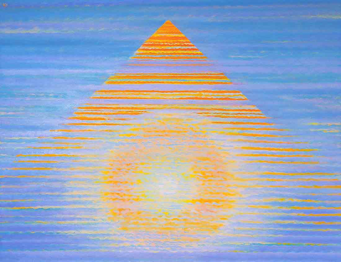 Pyramide of the Sun, acrylic Painting on canvas and Art Canvas Print by Wieslaw Sadurski