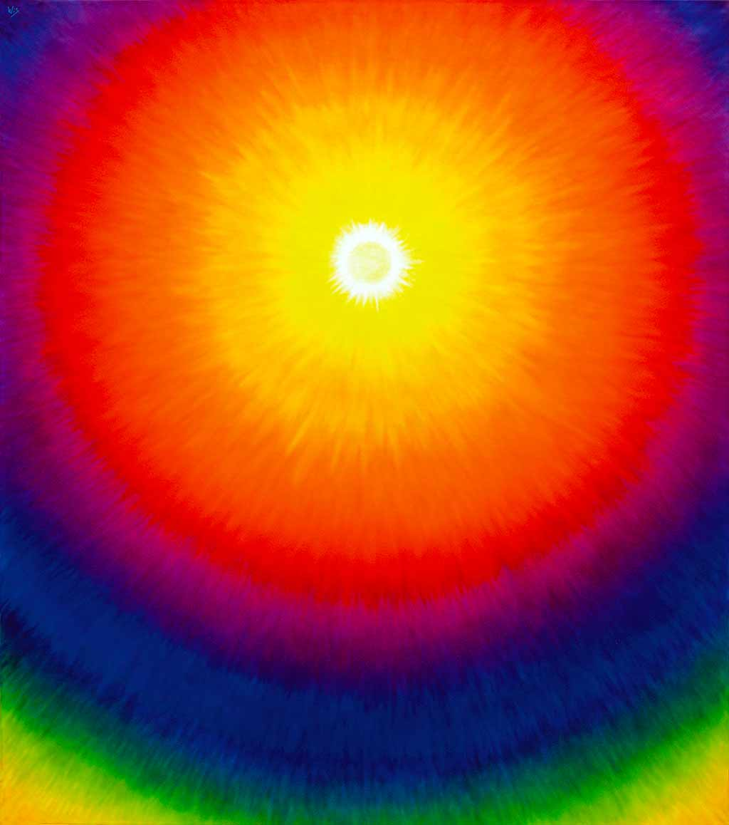 Little sun its huge aura through all the shades of yellow, orange, red, purple, blue; 1994