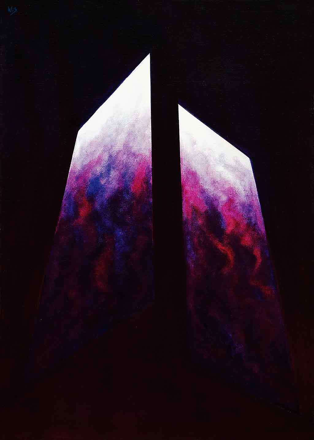 Abstract Lilac, 1995, Original Acrylic Painting and Art Canvas Print by Wieslaw Sadurski