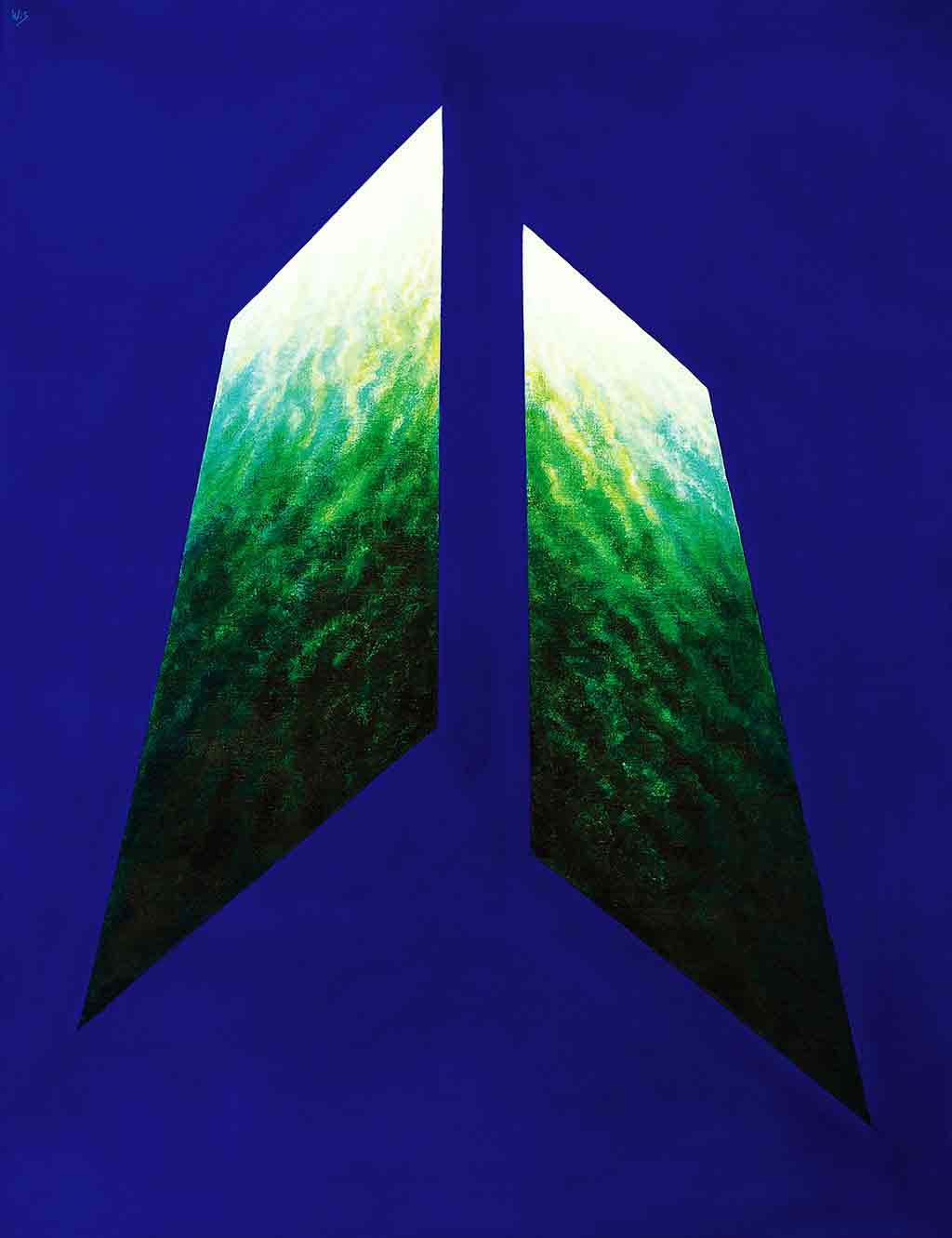 Blue-green Abstract, 1995, Original Acrylic Painting and Art Canvas Print by Wieslaw Sadurski