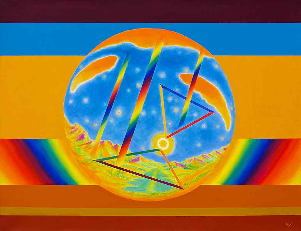 Rainbow Signs, 1998, Original Oil Painting on canvas and Art Canvas Print by Wieslaw Sadurski