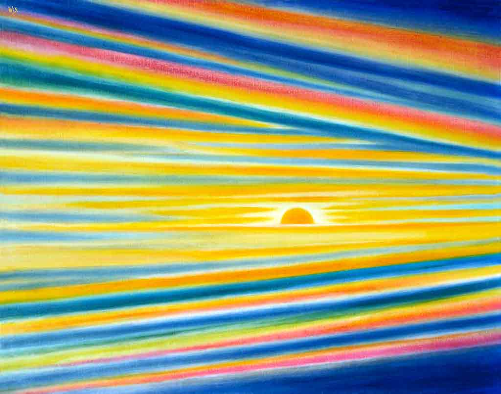 Sunrise forever, 1996, Original Oil Painting on canvas and Art Canvas Print by Wieslaw Sadurski