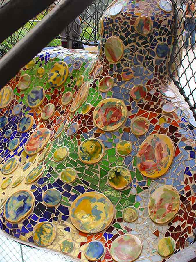 Antoni Gaudi, Casa Batlló mosaic on the terrace, photo by Wieslaw Sadurski